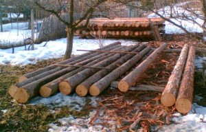 Строительство деревянного сарая очищение бревен от коры