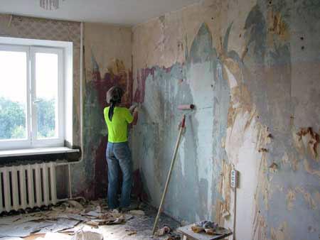Подготовка стен - снятие обоев
