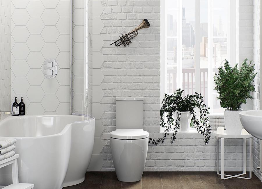 Белый кирпич в интерьере туалета