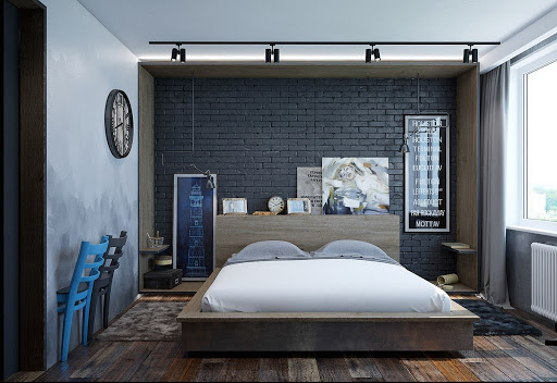 Чёрный кирпич в интерьере спальни